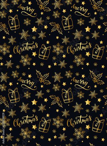 Christmas seamless pattern on black background - 229339929