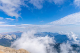 aerial view, view of the peaks of the Taurus Mountains, blue sky and clouds - 229344535