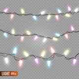 Christmas lights isolated on transparent background. Vector illustration.  - 229345754