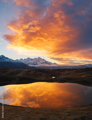 Stunning image of the fantastic lakes Koruldi at the foot of Mt. Ushba.