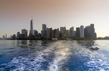 panoramic view of the downtown New York City skyline seen from the ocean