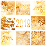 2019, golden christmas ornaments collage square greeting card - 229352143