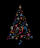 2019 christmas tree with colorful metal musical notes isolated on black background - 229352954