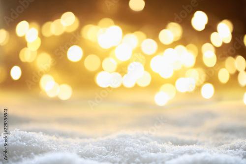 Leinwanddruck Bild Bokeh Hintergrund mit Schnee