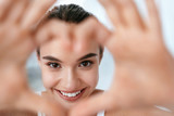 Eye Health. Beautiful Woman Face With Heart Shaped Hands. Beauty - 229364517