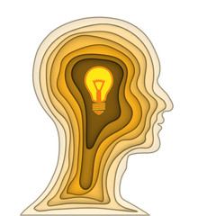 Paper carve cut layer of human head and light bulb brain on orange background as business, science,intelligence idea, art and craft style concept. vector illustration.. © Thissatan