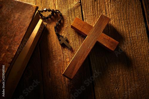 Leinwandbild Motiv Christian cross on wood bible and rosary