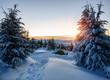 Leinwanddruck Bild - tent in winter mountain on sunrise