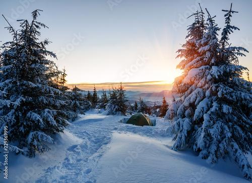 Leinwanddruck Bild tent in winter mountain on sunrise