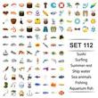 Vector illustration of sushi,surfing,summer, rest,ship water sea animals fishing aquarium fish icon set.