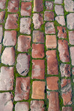 Stone pavement of red cobblestone with sprouted green moss