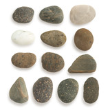 Group of stone with clipping path isolated on white background. - 229384388