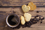 Coffee and tasty heart shaped cookies
