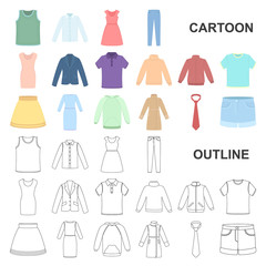 Different kinds of clothes cartoon icons in set collection for design. Clothes and style vector symbol stock web illustration.