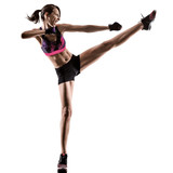 one caucasian woman exercising cardio boxing cross core workout fitness exercise aerobics silhouette isolated on white background - 229402723