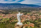 Mirador El Santo and his Jesus statue Villa de Leyva  skyline cityscape Boyaca in Colombia South America - 229403728