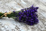 Bouquet of lavender on an old wooden cracked white background.
