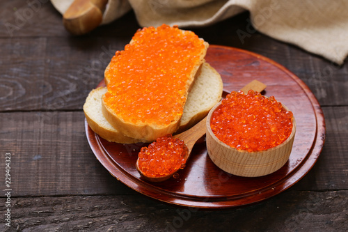 Foto Murales red fish caviar - a delicacy appetizer