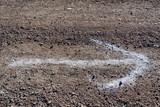 Flèche blanche dessinée sur le sol de terre - 229408914