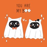 vector of Halloween ghost couple cat.
