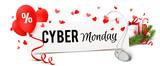 Cyber Monday Banner mit Computermaus, Luftballons und Weihnachtsdeko mit Geschenk - 229410136