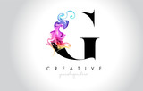 G Vibrant Creative Leter Logo Design with Colorful Smoke Ink Flowing Vector. - 229414597