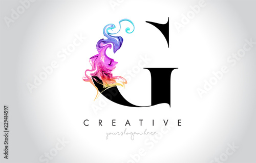 G Vibrant Creative Leter Logo Design with Colorful Smoke Ink Flowing Vector.