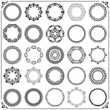 Vintage set of vector round black and white elements. Different elements for design frames, cards, backgrounds. Classic patterns. Set of vintage patterns - 229416947