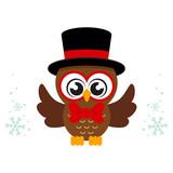 winter cartoon cute owl in hat with tie