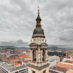 Basilica of Saint Istvan in Budapest, Hungary. Panorama of the city from the dome of the cathedral.