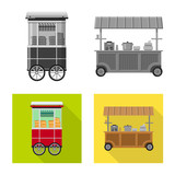 Isolated object of market and exterior icon. Set of market and food stock vector illustration. - 229431156