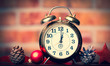 Christmas clock and ribbon with baubles on brick wall background