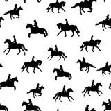 Black equestrian silhouettes on the white background - 229436518