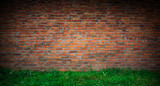 The texture of the brick is red. Background of empty brick basement wall.