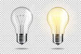 Transparent realistic light bulb, isolated. - 229445960