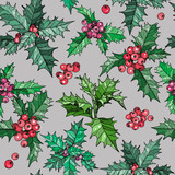 Seamless pattern with christmas flowers and red berries