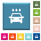 Car wash white icons on edged square buttons