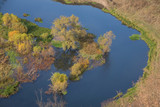 meander of the river Vorgol, aerial view. October. Voronezh region, Russia - 229453393