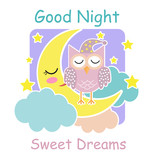 Good night card with a sleeping owl, moon and a clouds. Vector illustration