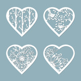 Set stencil hearts with flower. Template for interior design, invitations, etc. Image suitable for laser cutting, plotter cutting or printing. serigraphy.
