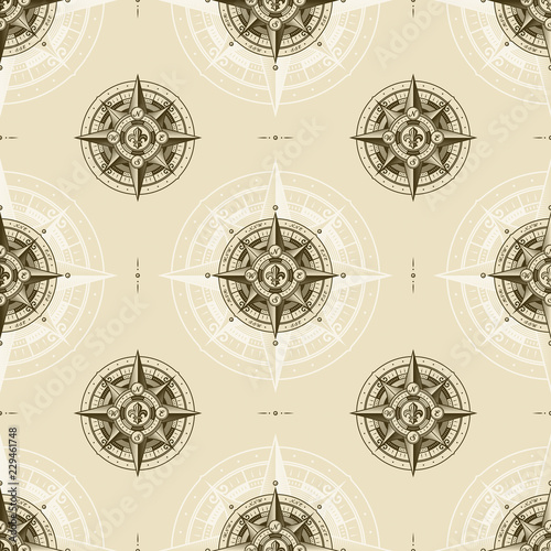Seamless vintage nautical wind rose pattern. Vector illustration in retro woodcut style with clipping mask.
