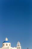 View to blue domes of Santorini island church, Greece - 229472300