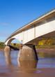 Cement girder bridge in South Maitland, Nova Scotia spanning the Shubenacadie River. on a sunny Autumn day.