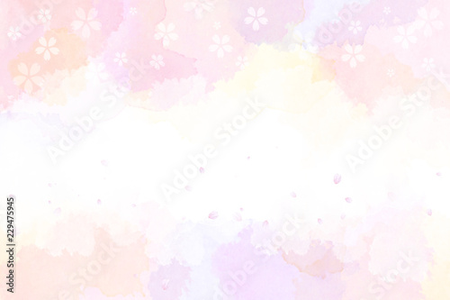春の抽象的イメージ(水彩タッチ) - 229475945