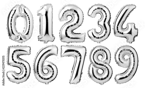 Silver numbers balloons isolated on white background