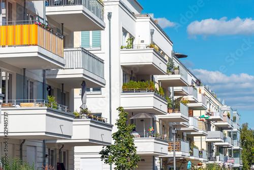 Leinwandbild Motiv Lots of balconies of modern apartment houses seen in Berlin, Germany