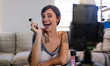Beauty vlogger recording her video blog episode