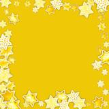Christmass star background. Happy New Year Design Decor. Watercolor handmade handdrawn paper stars. Stars confetti.