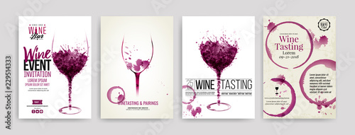 Collection of templates with wine designs. Brochures, posters, invitation cards, promotion banners, menus. Wine stains, drops. illustrations of wine glasses. - 229514333
