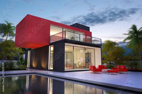Leinwandbild Motiv Red and black villa with pool